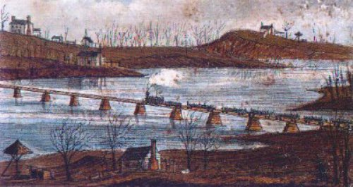UNION PRISONERS OF WAR CROSSING THE YADKIN RIVER ON PLATFORM CARS