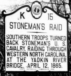 Yadkin River Bridge Battle Historic Highway Marker